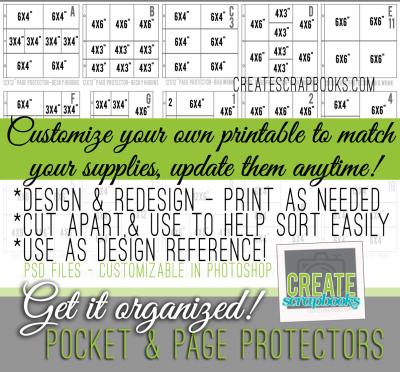 Digital scrapbooking organization project life printable hybrid page protectors