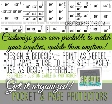 Digital scrapbooking organization project life printable hybrid page protectors