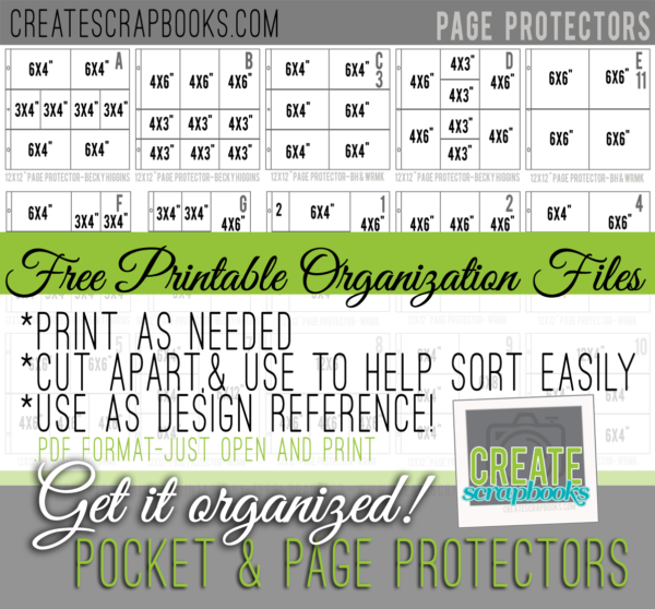 FREE Project Life Style Page Protector Organization Printable Download Files by CreateScrapbooks.com (Terri Bradford)