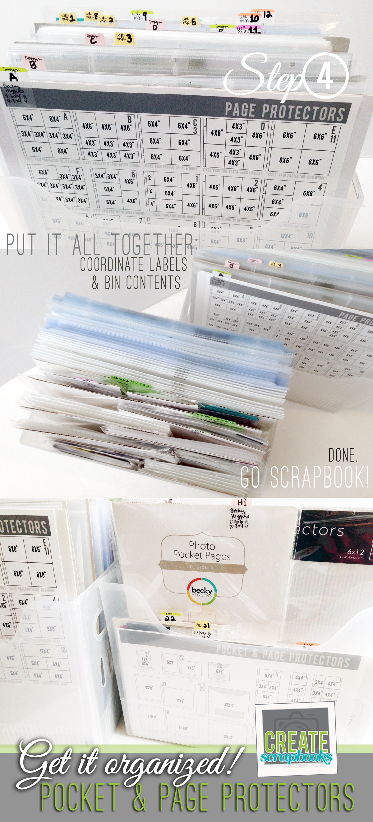 AFTER - In 4 EASY steps createscrapbooks.com gives you step-by-step instructions on how to get your Project Life pocket and page protectors organized for easy scrapbooking!