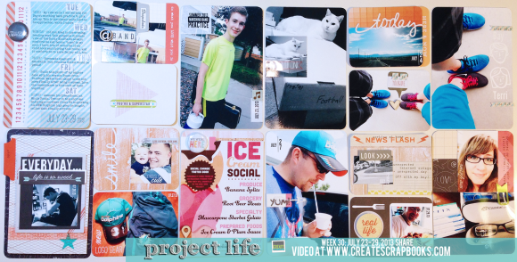 Project Life 2013 Week 30 Process Video and Scrapbook Layout using Design D Protectors