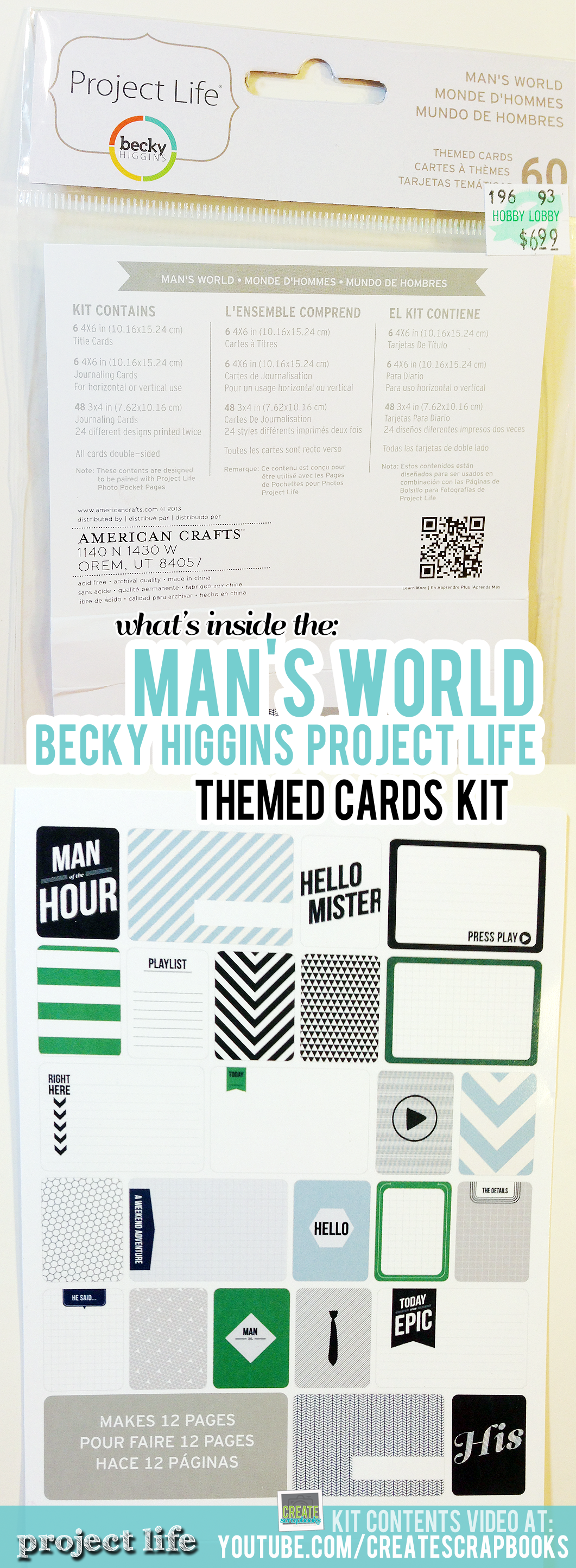 CreateScrapbooks.com Video of What's Inside the Man's World Themed Cards Kit, Project Life by Becky Higgins