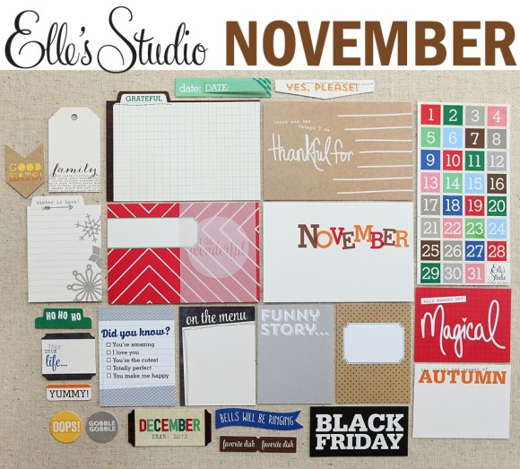 Create Scrapbooks What's Inside Video of Elle's Studio: November 2013 Elle's Studio Monthly Kit (Exclusive Project Life Cards/Tags, Paper Embellishments + Die Cuts)