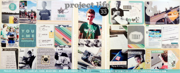 CreateScrapbooks.com Project Life Process Idea Video Week 33 2013 Layout Complete (F, A and 5x7 page  protectors by Becky Higgins)