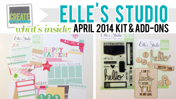 http://youtu.be/OcrFiv6GL8U Create Scrapbooks What's Inside Video Elle's Studio - April 2014 - Elle's Studio Monthly Kit (Exclusive Project Life Cards/Tags, Paper Embellishments + Stamps + Wood Veneer + Die Cuts) featured at scrapclubs.com