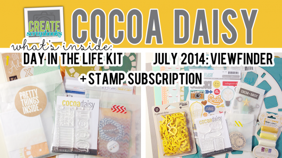 http://youtu.be/97513yQqxbE - Create Scrapbooks What's Inside VIDEO: Cocoa Daisy VIEWFINDER, DAY IN THE LIFE KIT, and STAMP KIT - JULY 2014 Kits with Exclusives!