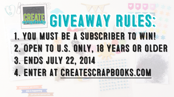 JULY 2014 GIVEAWAY rules: CreateScrapbooks.com YouTube channel kit goodies - enter to win some Freckled Fawn supplies!