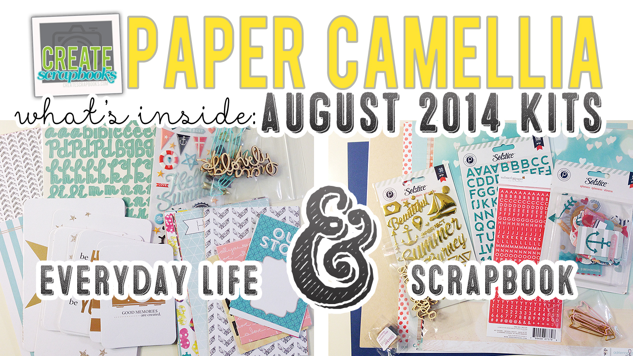 http://youtu.be/ij2r0wheCA0 - Create Scrapbooks What's Inside Video: PaperCamellia.com AUGUST 2014 Scrapbook Kit & NEW Everyday Life (pocket page style) Kit Release featured at scrapclubs.com