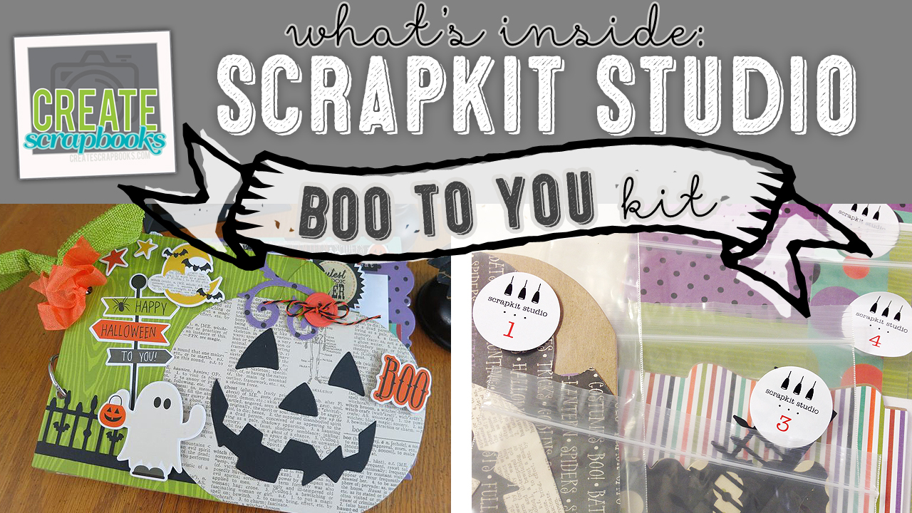 "http://youtu.be/vYPA8JzBei0 Create Scrapbooks What's Inside VIDEO: ScrapKit Studio - BOO TO YOU - Halloween Themed 6x9"" Complete Album Kit featured at scrapclubs.com"